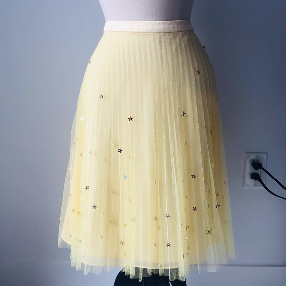 American retro Paris Tutu Yellow skirt with stars